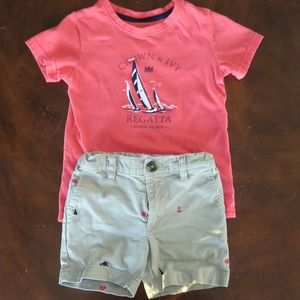 Crown & Ivy khaki shorts coral sailboat shirt